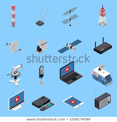 онлайн связь изометрический икона вектора знак Сток-фото © pikepicture