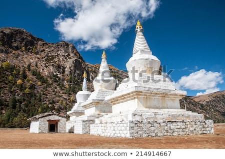 Branco pagode templo árvore jardim nuvem Foto stock © Archipoch