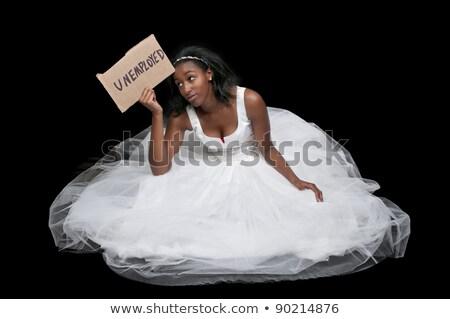 Desempregado mulher negra vestido de noiva preto africano americano mulher Foto stock © piedmontphoto