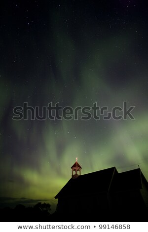 Stock fotó: Country Church And Northern Lights