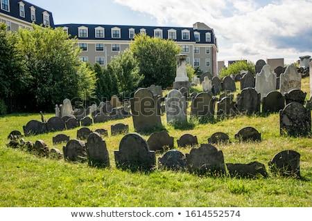 Starych trawy kamień grobu cmentarz szary Zdjęcia stock © pterwort