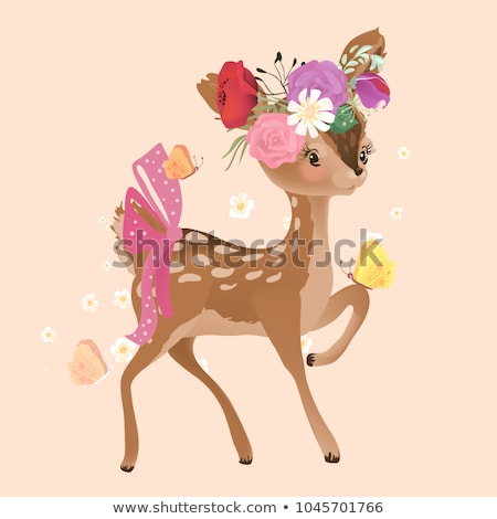 cute deers with floral background vector stock photo © beaubelle