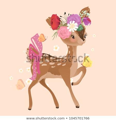 Stock fotó: Aranyos · virágmintás · vektor · ikra · szarvas · őzgida