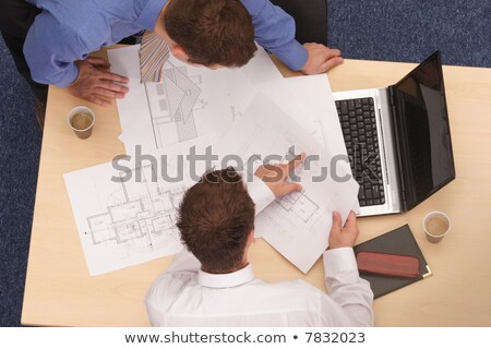 Twee architect plannen business meisje man Stockfoto © photography33