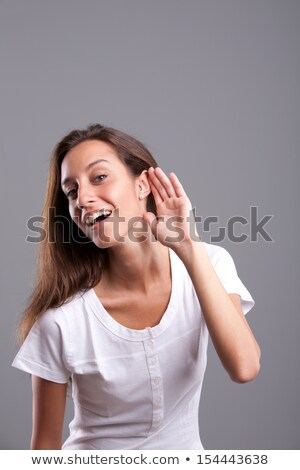 портрет женщину прослушивании осторожно глазах Сток-фото © photography33