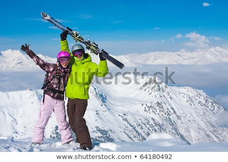 Portrait of a couple skiing in the Alps Stock photo © photography33