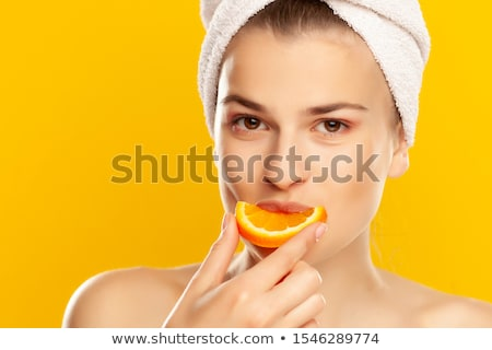 belle · dame · orange · serviettes · blanche · femme - photo stock © dolgachov