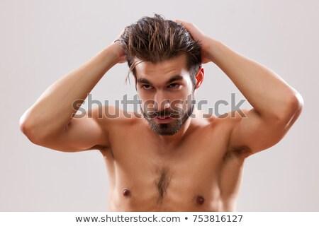 moço · gel · cabelo · sorrir · homem - foto stock © ambro