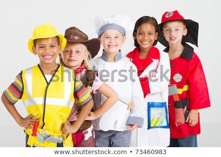 aanbiddelijk · kind · jongen · brandweerman · hoed · spelen - stockfoto © photography33