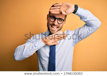 Zakenman spelen kiekeboe business handen glimlach Stockfoto © photography33