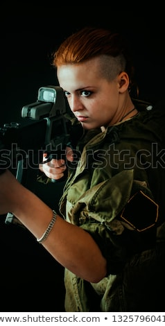 Armed soldier taking aim Stock photo © acidgrey