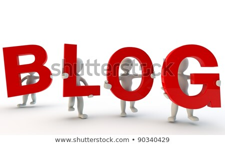 3D humans forming red BLOG word stock photo © Giashpee