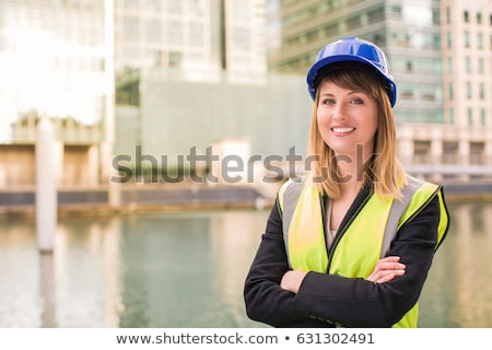 Kadın mimar planları kask beyaz iş Stok fotoğraf © wavebreak_media