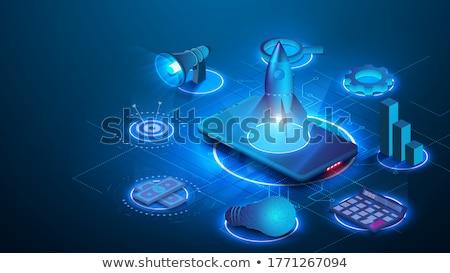 versnelling · Blauw · grafiek · 3D · kleurrijk · geven - stockfoto © cgsniper