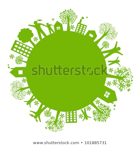 buildings on green planet and ocean. Concept of business world. Stock photo © dacasdo