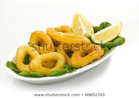 Tintahal gyűrűk saláta étel citrom citrus Stock fotó © M-studio