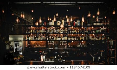 Bar Flaschen Zeile gelb Wein Hintergrund Stock foto © alex_l