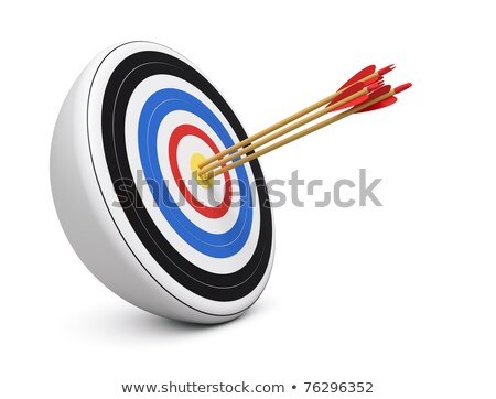 Three Blue Black Archery Arrows Hit Round Target Bullseye Center Stock photo © cboswell