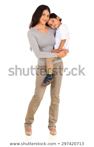 Portrait of mother and child, isolated on white Stock photo © dacasdo