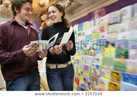 Couple cartes postales magasin femme famille fille Photo stock © Paha_L