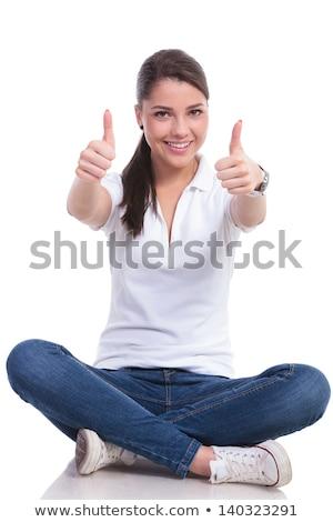 kadın · oturma · imzalamak · boş · kâğıt - stok fotoğraf © feedough