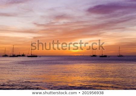 sunset over the Caribbean Sea, Grand Anse Bay, Grenada Stock photo © phbcz
