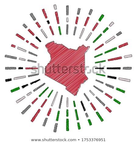Stock fotó: Zászló · Kenya · kéz · szín · vidék · stílus