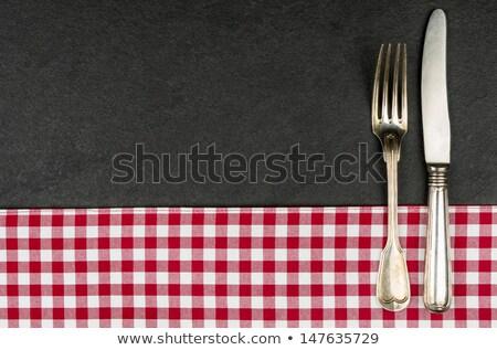 Ezüst étkészlet tányér piros kockás asztalterítő textúra Stock fotó © Zerbor