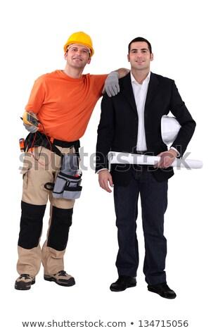 üzletember kézműves pózol együtt megbeszélés építkezés Stock fotó © photography33