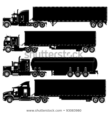 Stock photo: Vector detailed trucks silhouettes set