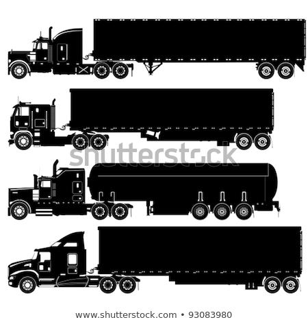 Vektor részletes teherautók sziluettek készlet Stock fotó © Mechanik