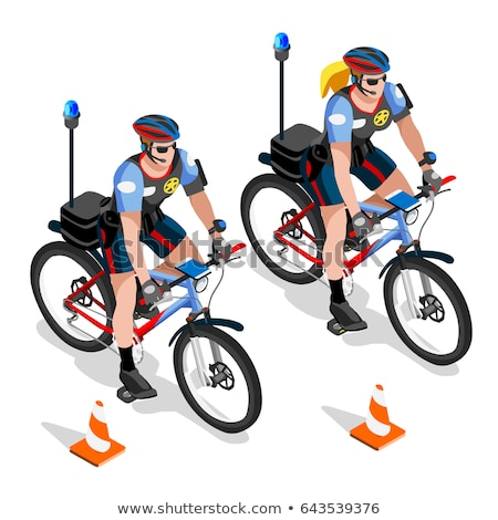 Police - woman on bicycle with police officer Stock photo © Kzenon