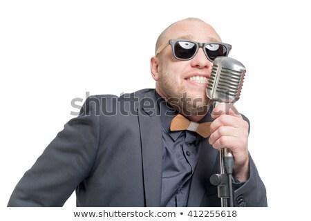Kopasz férfi énekel dal rajz illusztráció Stock fotó © adrian_n