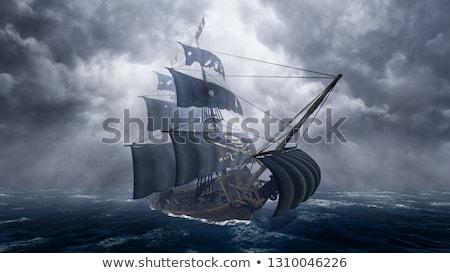 Pirate ship in fog- 3D render Stock photo © Elenarts