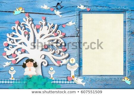 Pierwsza komunia zaproszenie anioł dzieci kościoła Zdjęcia stock © marimorena