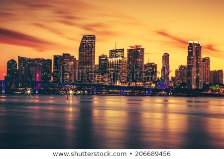 Miami Florida, sunset  with business and residential buildings  Stock photo © vwalakte