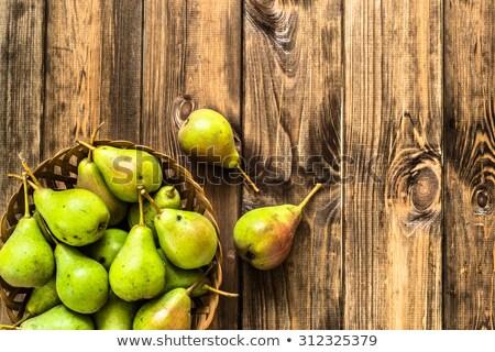 três · orgânico · peras · madeira · delicioso · verde - foto stock © tab62