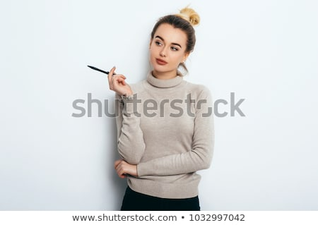 Beautiful happy woman with pen  stock photo © fotorobs