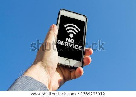 Hand smartphone weer bergen scherm Stockfoto © pab_map