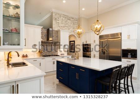 Luxus konyhaszekrény kék bútor otthon konyha Stock fotó © vizarch