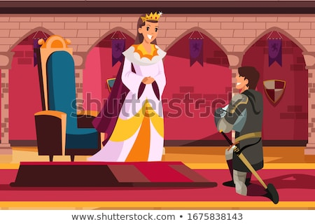 kneeled medieval knight with sword and shield stock photo © nejron