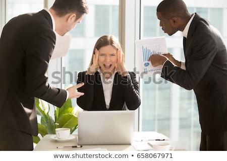hangsúlyos · vállalati · alkalmazott · közelkép · portré · boldogtalan - stock fotó © ichiosea