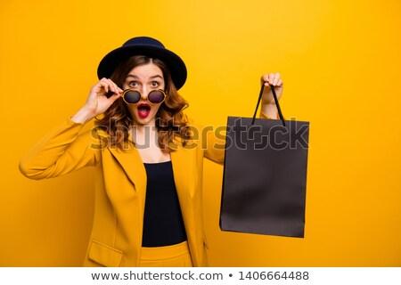 güzel · genç · kadın · siyah · gözlük · şaşırmış · kadın - stok fotoğraf © luckyraccoon