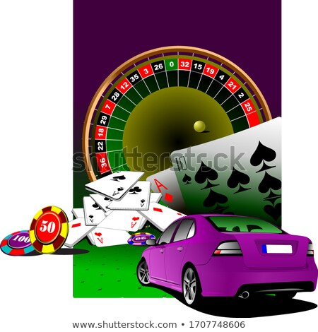 casino elements with purple luxury sedan car vector illustrati stock photo © leonido