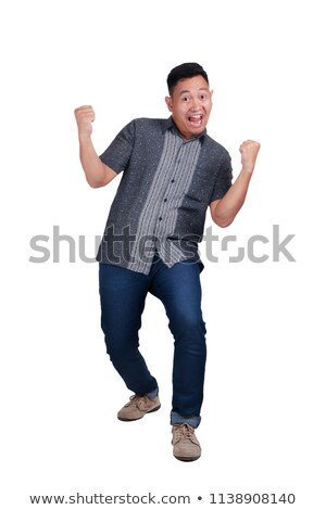 человека · белый · рубашку · смеясь · кулаком - Сток-фото © feelphotoart