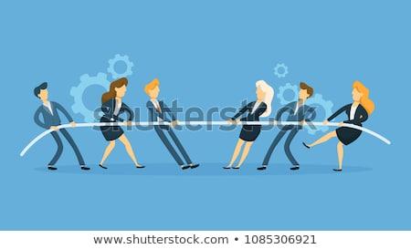 Háború üzletemberek versenyző piac emberek kötél Stock fotó © retrostar
