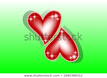Two ruby hearts, love card, vector illustration Stock photo © carodi
