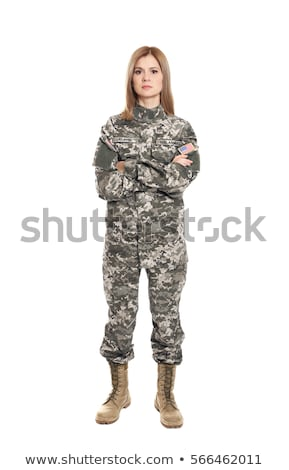 Stok fotoğraf: Kadın · asker · yalıtılmış · beyaz · kız · arka · plan