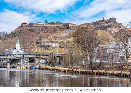 Kale Norveç Bina duvar manzara kaya Stok fotoğraf © slunicko