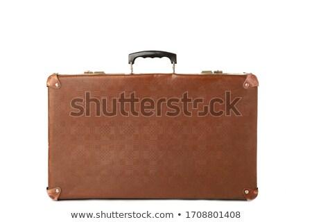 öreg · klasszikus · bőrönd · fa · asztal · utazás · öltöny - stock fotó © stokkete